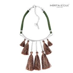 Collezione Rock New Style    Mirta Bijoux®    COLLANA GIROCOLLO CON PLACCA  IN METALLO LUCIDO NICKEL FREE , TUBOLARI E NAPPINE IN LUREX.    Made in Italy