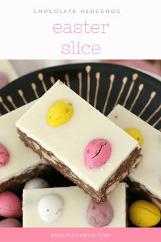 This Chocolate Hedgehog Easter Slice is a fun variation on a classic favourite hedgehog recipe… biscuits, chocolate and coconut with a special Easter twist!