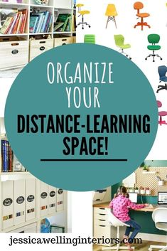 Get all set up for distance learning this Fall with a dedicated homeschool room or even just a corner! This room is full of simple organizing ideas that will work for older kids or elementary kids! Think pegboards, magazine files, storage bins, bookshelves, and file cabinets.