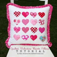 Craft Sew Create: Quilted Valentine Hearts Pillow Tutorial ~ A cute way to show some fabric love! The possibilities are endless with thousands of fabrics to choose from at the Fabric Shack at http://www.fabricshack.com/cgi-bin/Store/store.cgi