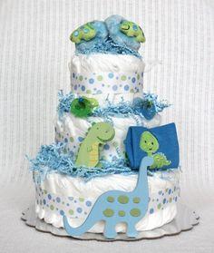 Dinosaur Diaper Cake by BabyBootyDiaperCakes