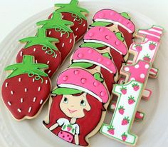 Strawberry Shortcake decorated cookies, great birthday party favors, characters, strawberry, number on Etsy, $48.00