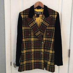 Vintage ESCADA by Margaretha Ley Yellow Blazer  Vintage ESCADA by Margaretha Ley Blazer  Yellow/Black/Brown wool with black velvet trim/sleeves and gold buttons  size 34 - Reminds me of Cher from Clueless  Excellent condition! Fashion guru Robert Black has verified it is authentic VINTAGE ESCADA and ERA CORRECT- NO TRADES  make me an appropriate offer  Escada Jackets & Coats Blazers