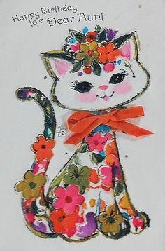 1960s flower kitty birthday card.