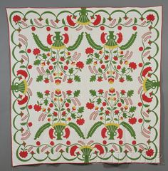 Pieced and Appliqued Cotton Quilt with Urn of Flowers Design | Sale Number 2524B, Lot Number 598 | Skinner Auctioneers
