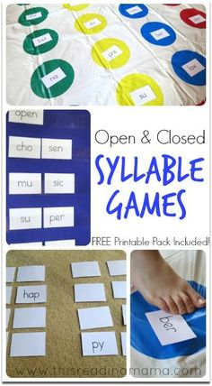 Open and Closed Syllable Games {with FREE Printable Pack} | This Reading Mama Phonics Reading, Kindergarten Reading, Teaching Reading, 2nd Grade Reading Games, Syllables Kindergarten, Guided Reading, Teaching Ideas, Wilson Reading Program, Phonics Words