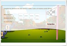 """""""Máximo Común Divisor"""" (Juego de Matemáticas de Primaria) Map, Ideas, Maths Area, Math Games, Teaching Resources, Location Map, Maps, Thoughts"""