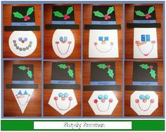 "Snowman activities: FREE shapely snowmen patterns. Did you notice that the facial features match the shape? Use as a center, or have students choose one and hang on a b. board.  Caption: Learning Shapes is ""Snow"" Much Fun!"""