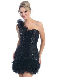 Black Elegant Ruffle  Short Prom Dress