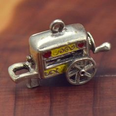 Vintage Sterling Silver Enamel Food Truck Moves 2 7g Charm Pendant NG560   eBay