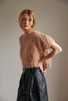 Loopy Mango - Puff Sleeve Top - Mohair Hand Knit in the USA with our Mohair So Soft yarn Super K Knitwear Fashion, Knit Fashion, Look Fashion, Crochet World, Knit Crochet, Loopy Mango, Chunky Knitwear, Mohair Sweater, Knitting Designs