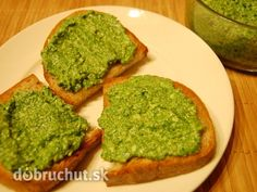 Fotorecept: Špenátové pesto na hrianky a cestoviny Pesto Dip, Chutney, Avocado Toast, Preserves, Food And Drink, Appetizers, Menu, Baking, Breakfast