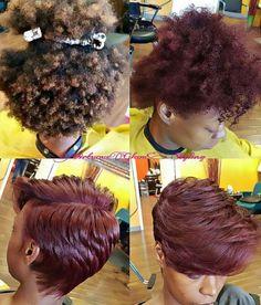 Who Else Would Rock This Red Wine Silk Press? - Black Hair Information Community Short Sassy Hair, Short Hair Cuts, Love Hair, Gorgeous Hair, Pressed Natural Hair, Curly Hair Styles, Natural Hair Styles, Natural Hair Blowout, Hair Transformation