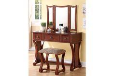Lucca Vanity Set with Mirror - Rangement maquillage - Schlafzimmer Bedroom Vanity Set, Vanity Table Set, Table And Bench Set, Makeup Table Vanity, Vanity Stool, A Table, Makeup Tables, Makeup Stool, Bedroom Vanities