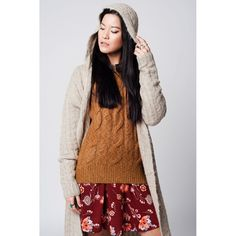 Beige longline cable knit open cardigan with hoodie Women Fashion 2017