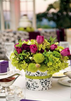 Damask vase (paper around a tin can)with green & purle flowers (or other colors of your choice)