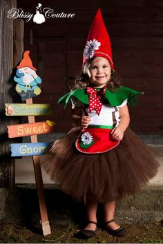Gnome Sweet Garden Gnome Tutu Costume! Oh. My. Cuteness!  Maybe for next year!