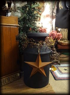 Old Milk Can w/ Star