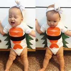 Dress up baby as your favorite food with this sushi roll costume. Baby Sushi Costume, Funny Baby Costumes, Cute Baby Halloween Costumes, Halloween Bebes, Twin Costumes, Food Costumes, First Halloween, Family Costumes, Family Halloween
