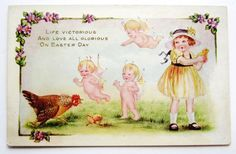 Whitney FAIRIES & EASTER Hen Protects Her Chicks GIRL Postcard EMB