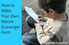 Go Explore Nature: How to Make Your Own Nature Scavenger Hunt Nature Activities, Outdoor Activities For Kids, Preschool Activities, Nature Scavenger Hunts, Scavenger Hunt For Kids, Hunting Crafts, Outdoor Classroom, Nature Study, France