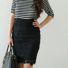 """Lacy black skirt Brand new without tags! Made of 100% polyester.  Size small.  A stunning piece that transitions beautifully from work to play.  Length 22.5"""", waist 13"""". Skirts"""