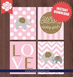 INSTANT DOWNLOAD  Pink and Gold Glitter Nursery Art by BlissfulPixels