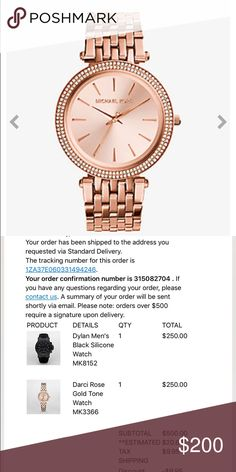 MK Parker Rose Gold watch Such a beautiful watch! Rose gold in color. 2 rows of diamonds. 2 DIAMONDS ARE MISSING. Minor/minimal scratches on band which could probably be buffed out or re-dipped. Works 100% fine. I'm just ready for a change. Box not included :/ 100% authentic! Receipt in pictures! Michael Kors Accessories Watches