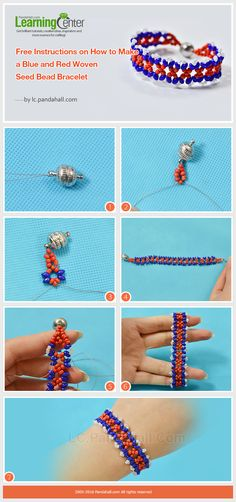 Tutorial for red and blue woven beaded bracelet from LC.Pandahall.com