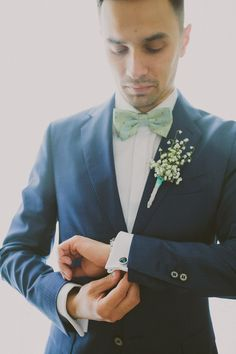 Bow Tie Groom Mint Chemistry Outdoor Wedding Estonia http://sokkphoto.com/
