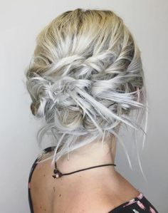 Messy Blonde Updo With Twists