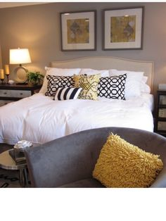 Bedroom colour scheme, black, white, mustard and beige