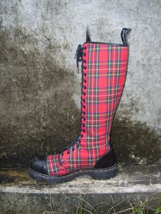 Want - need - crave!!!Tartan Plaid Punk Boots Combat Knee High Lace Up GripFast made in England Steel Toes. $250.00, via Etsy.