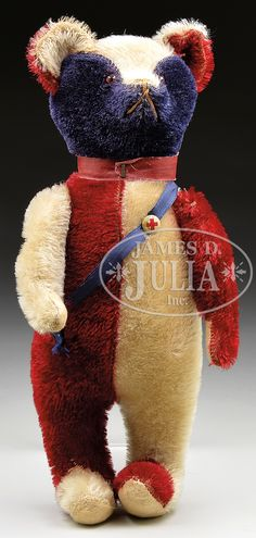 15 inch CIRCA 1908 RED, WHITE AND BLUE MOHAIR UNCLE SAM BEAR most likely produced by the toy firm Art Novelty Company of New York
