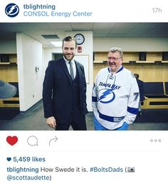 Victor Hedman and his father; 2/20/16 was the Lightning Dad's Trip