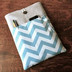 13 inch laptop Macbook Pro Cover Padded Case Sleeve - Ready to Ship - Linen with Village Blue Chevron Zig ZagFabric Pocket via Etsy
