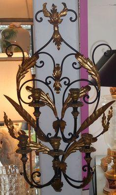 Vintage Black Gold Hollywood Regency Style Iron Wall Sconce w 5 Lights | eBay