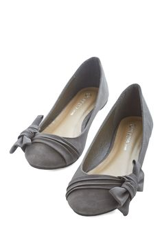 Anywhere You Bow Flat. You always love gazing down at these versatile flats, whether sporting them on a morning jaunt around your block or on a dreamy getaway. #grey #modcloth