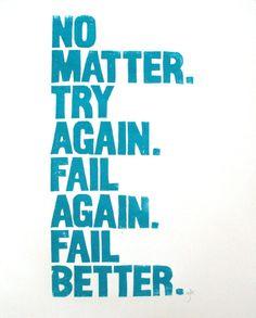 """Samuel Beckett quote poster, 16"""" x 22"""" linocut letterpress"""