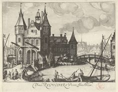 Simon Frisius | Regulierspoort te Amsterdam, Simon Frisius, 1595 - 1628 | Gezicht op de Regulierspoort te Amsterdam. Op de voorgrond voeren figuren alledaagse bezigheden uit. Op de achtergrond een stadsgezicht.
