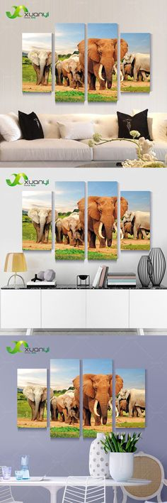4 Pannel Wall Art Canvas Africa Elephant Landscape Oil Painting Picture Home Decoration Modern Canvas Print Unframed PR1169 $37.9
