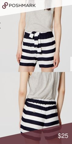 NWT Loft navy and white striped shorts Waist band is a tie waist. Add this to a bundle to save 15%. LOFT Shorts