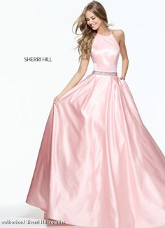 Sherri Hill 51036 Halter neckline satin ballgown skirt simple elegant prom pageant formal dress lots of colors pink yellow blue black emerald fuchsia coral red nude navy @missprissgowns