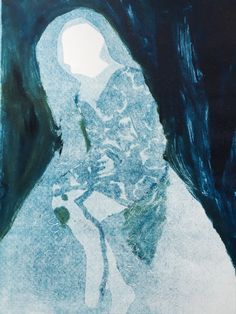 """Holly Froy """"Blue Hood"""" Monoprint on paper"""