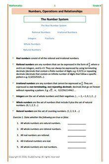 Grade 8 Mathematics: Numbers, Factors and Multiples workbook