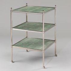 Vaughan Designs - Nickel Etagere / Green Shagreen