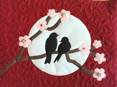Gecko Fabric Art - lovebirds on a branch. Applique design quilted and mounted on box canvas. Fabric Artwork, Applique Designs, Love Birds, Medium Art, Quilts, Canvas, Create, Box, Comforters