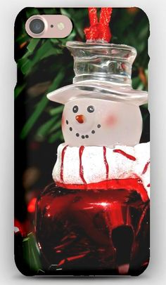 iPhone 7 Case Snowman, Christmas decorations, Branch, Tree
