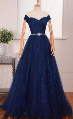 Elegant Navy Blue New Fashion Prom Dress Off The Shoulder Straps Prom Dresses Evening Gowns