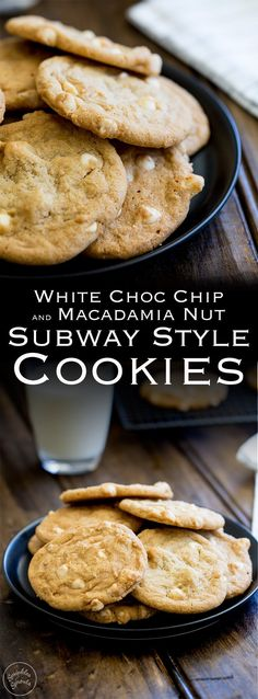 And ready to EAT in just 20 minutes! Perfect soft and chewy cookies packed with white chocolate chips and macadamia nuts these cookies are just like Subway cookies. but even better as you know exactly what is in them! Subway Cookie Recipes, Chocolate Cookie Recipes, Easy Cookie Recipes, Sweet Recipes, Baking Recipes, Dessert Recipes, Chocolate Chips, Chocolate Meringue, Gourmet